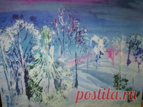 Необычная техника рисования: зима капустным листом — Сделай сам, идеи для творчества - DIY Ideas