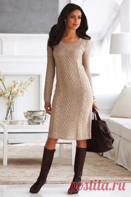 Платье спицами роскошным узором. Схема, выкройка (Вязание спицами) – Журнал Вдохновение Рукодельницы