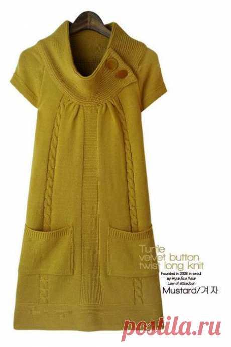 Платье спицами горчичного цвета