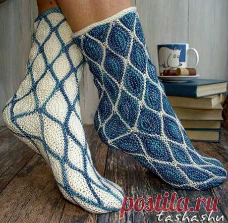 Носки частичным вязанием.Для вдохновения.
