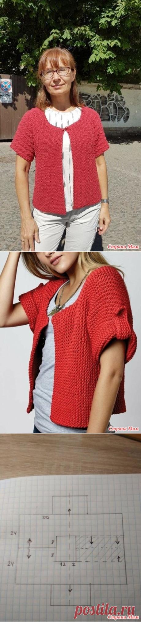 Красный жакетик, связанный поперек спицами - Вязание - Страна Мам