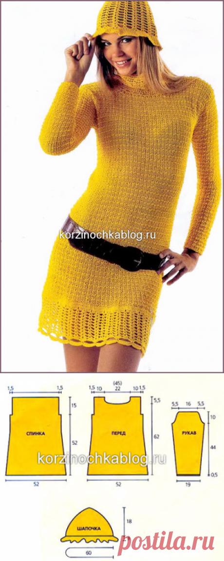 Желтое вязаное спицами платье для женщин - 14 Декабря 2016 - Вязание спицами, модели и схемы для вязания на спицах