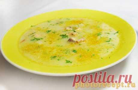 Сливочный суп с семгой.