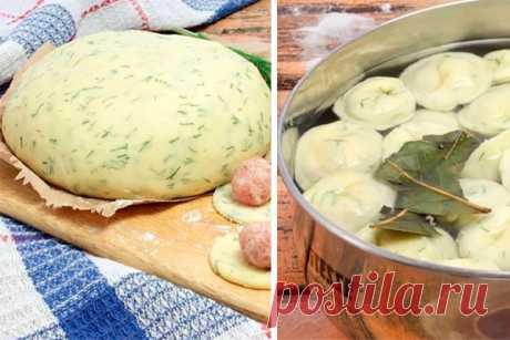 Тесто с зеленью для удивительно вкусных пельменей.