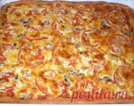 Открытый пирог из творожного теста а-ля пицца | Четыре вкуса