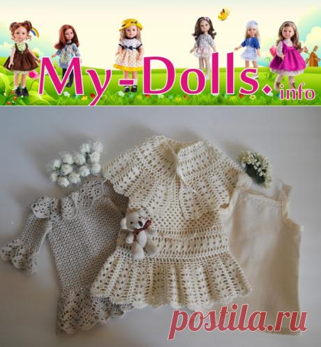 Платья вязаные на заказ для винтажных кукол производства 50-х годов XX-го века. Работа и обзор Ольги Портновой