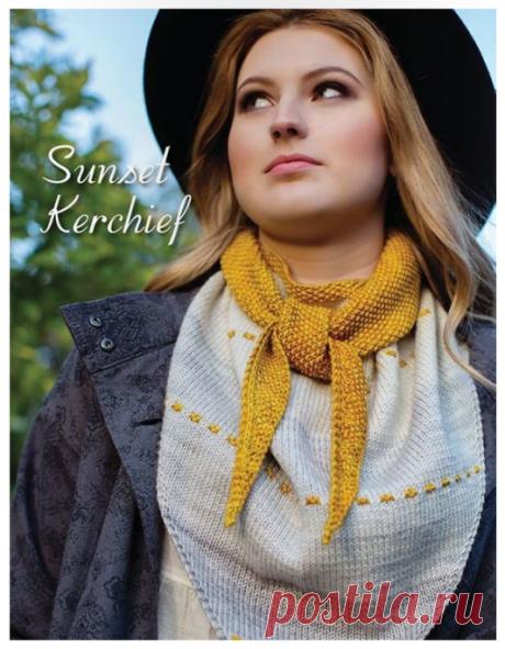 Модный осенний шарф-косынка Sunset Kerchief спицами!
