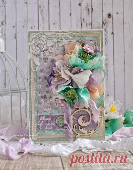 "Птиц в цветах! Открытка по новому скетчу блога ""Ассорти"" | Katerina Studio"