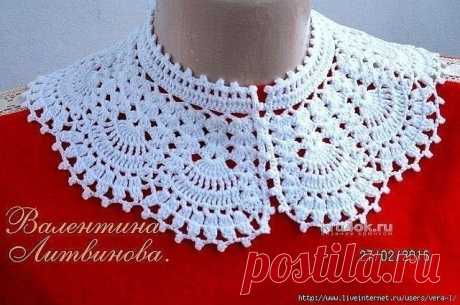 Openwork collar hook. Valentina Litvinova's work\u000d\u000a\u000d\u000aThe openwork laces connected by a hook never get out of fashion. On graceful patterns it is visible of what feelings the skilled worker wanted to inform you: love, heat, tenderness, cosiness … The real collar is connected by a hook from 100% of the Turkish cotton. Especially beautifully looks on children's and women's dresses. By means of such charming collars it is possible to create any image: classical, romantic or extravagant.\u000d\u000a\u000d\u000aDescription of a collar\u000d\u000aM...