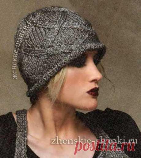 Вязаная шапка с ромбами - схемы вязания спицами