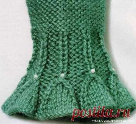 Отделка края спицами.  #кофточка@knittinglove