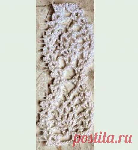 Узор крючком: белая тесьма с ягодками | Схемы-Вязания.ру