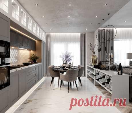Идеи интерьеров кухни. Зачем совмещать кухню с гостиной ? | Глазами Архитектора | Яндекс Дзен