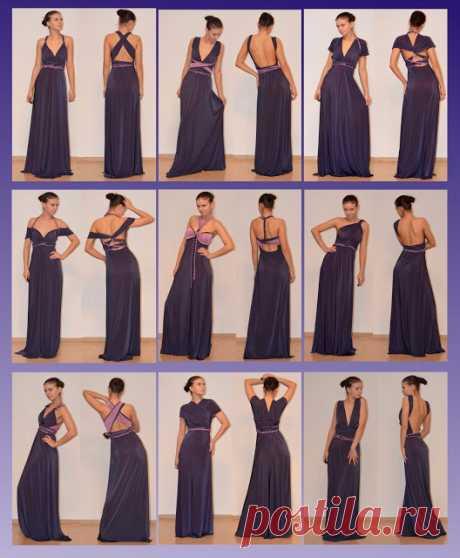 Шьем двухстороннее платье одно, а вариантов как носить - много!