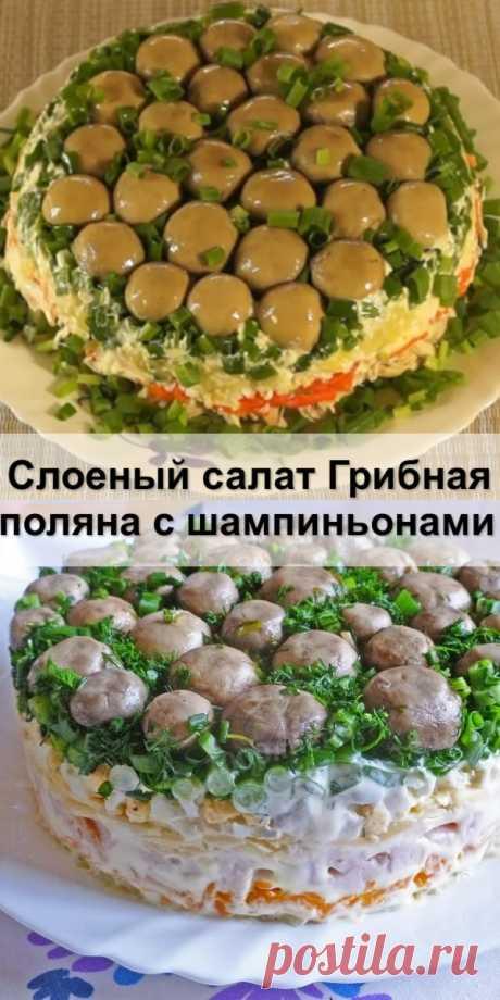 Слоеный салат «Грибная поляна» с шампиньонами - Женский сайт Сегодня я хочу поделиться с вами классическим видео рецептом слоеного салата «Грибная...