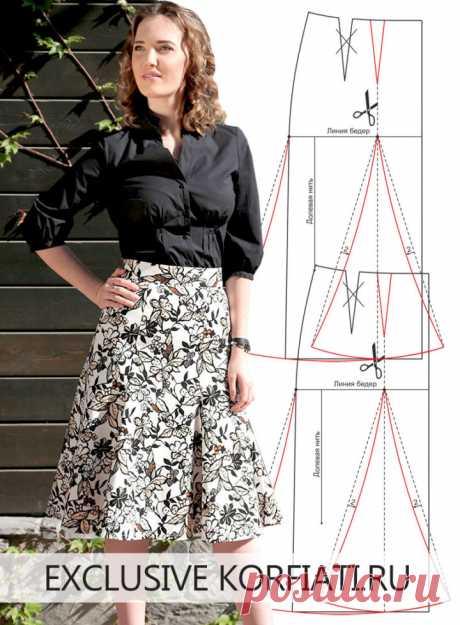Выкройка юбки шестиклинки от Анастасии Корфиати