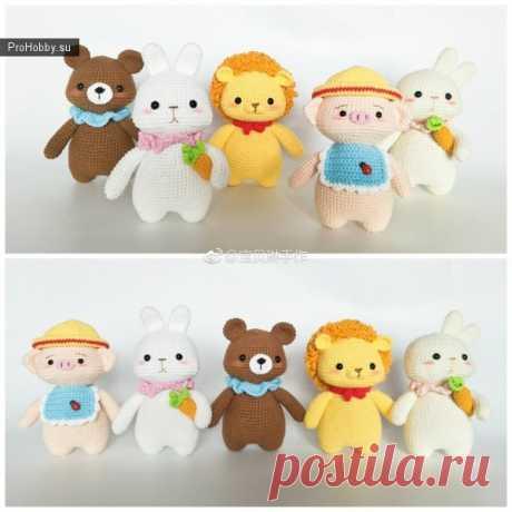 Игрушки по одной схеме / Вязание игрушек / ProHobby.su | Вязание игрушек спицами и крючком для начинающих, мастер классы, схемы вязания