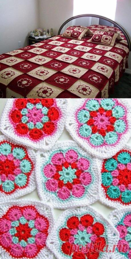 Разнообразные мотивы с цветком для вязания пледов и подушек крючком (для вдохновения)   38 рукоделок   Яндекс Дзен