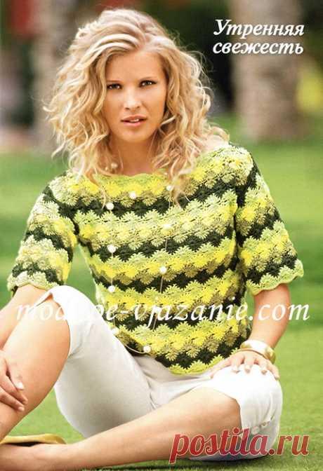 Amarillo-verde uzornaya la blusa