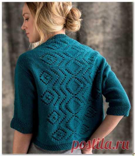 Болеро вязаное спицами с ажурной спинкой. Схема болеро вязаного спицами | Amac