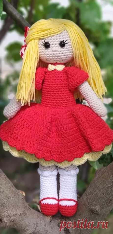 PDF Куколка крючком. FREE crochet pattern; Аmigurumi doll patterns. Амигуруми схемы и описания на русском. Вязаные игрушки и поделки своими руками #amimore - кукла, куколка, девочка.