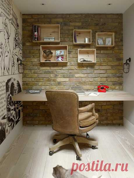 Домашний кабинет с кирпичной стеной — фото стильных интерьеров |