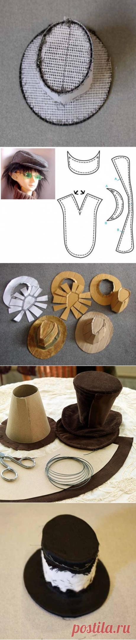 Головные уборы для кукол. Цилиндр, шляпа, кепка
