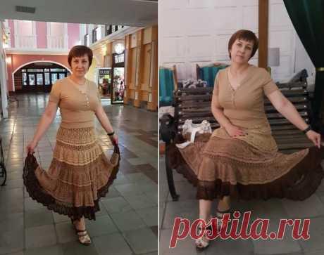 """[Вязание] Роскошная юбка: """"Букет кофейных нитей"""". Схема и описание."""