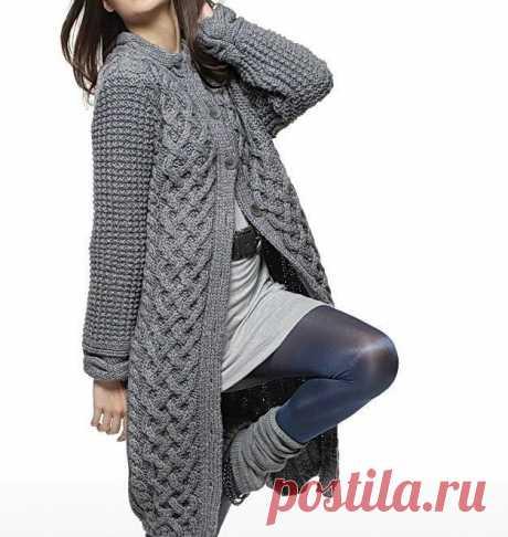 Пальто с широким переплетением (Вязание спицами) | Журнал Вдохновение Рукодельницы