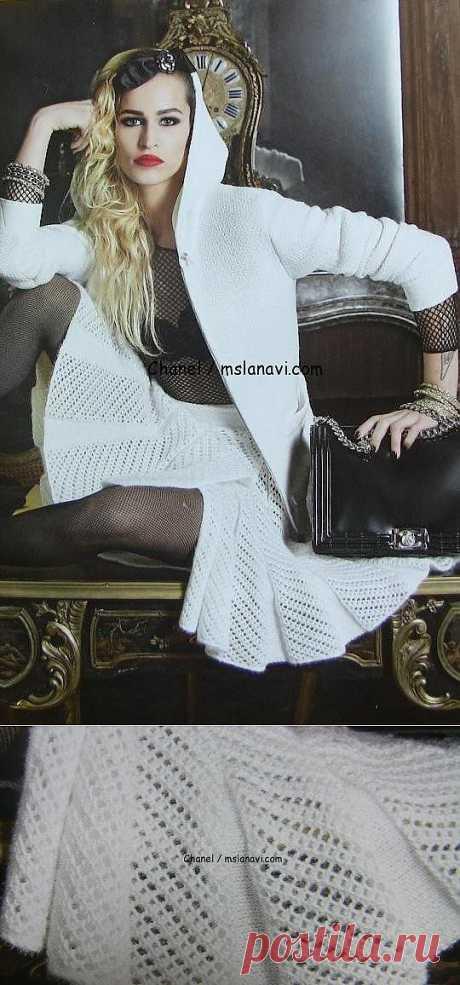 Белая вязаная юбка Шанель   Вяжем с Ланой