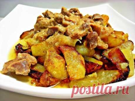 Вкусные куриные желудочки с картофелем и помидорами – бюджетное блюдо для всей семьи - На Кухне Предлагаем приготовить куриные желудочки с картофелем и помидорами. Это бюджетное блюдо получается очень вкусным и сытным.