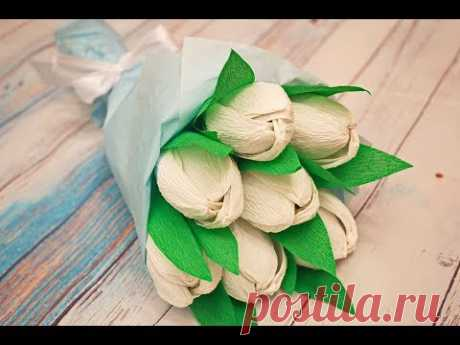 Тюльпан из гофрированной бумаги с конфетой внутри к 8 марта / How to make crepe paper flowers - YouTube В сегодняшнем мастер-классе я покажу как можно сделать красивый букет тюльпанов из гофрированной бумаги к 8 марта. Тюльпаны будут необычные, а с конфеткой внутри.  #тюльпанизгофрированнойбумаги #тюльпансконфетойвнутри #букетсвоимируками