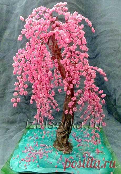 Дерево сакура из бисера   Деревья из бисера