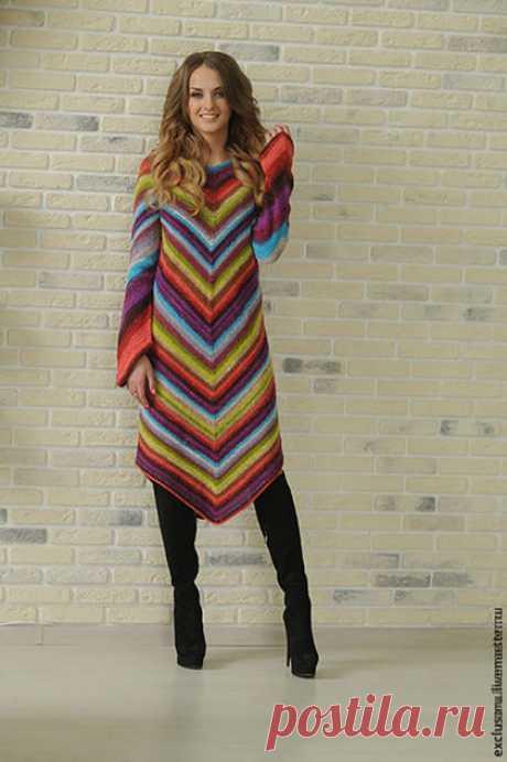 Купить Авторское платье''MISSONI '' - комбинированный, в полоску, нарядное платье, теплое платье, весеннее настроение
