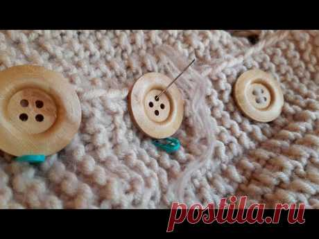 Почти готов! Пришиваю пуговицы на кардиган / #вязание #вязаниеспицами #кардиган