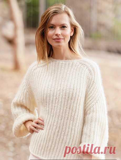 Воздушный пуловер спицами английской резинкой - Портал рукоделия и моды