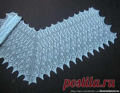 Шаль необычной формы. Схема | Вязание шали спицами