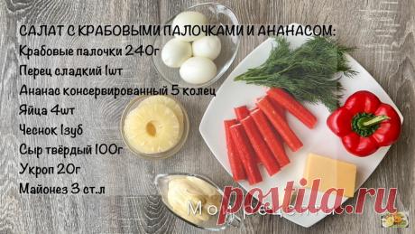 Всего10 минут и Салат с Ананасом готов   Людмила Мороз   Мои Рецепты   Яндекс Дзен