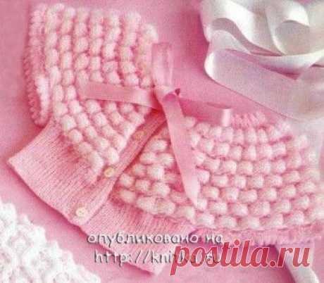 Розовая накидка, связанная спицами, Вязание для детей