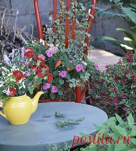Замечательные идеи для садовых участков - контейнеры под цветы