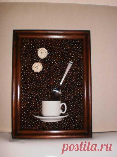 Панно из кофейных зерен - инструкция изготовления картины из кофе