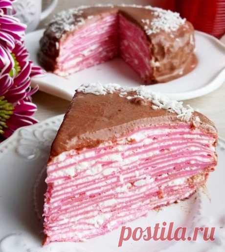 Блинный ПП торт розовый