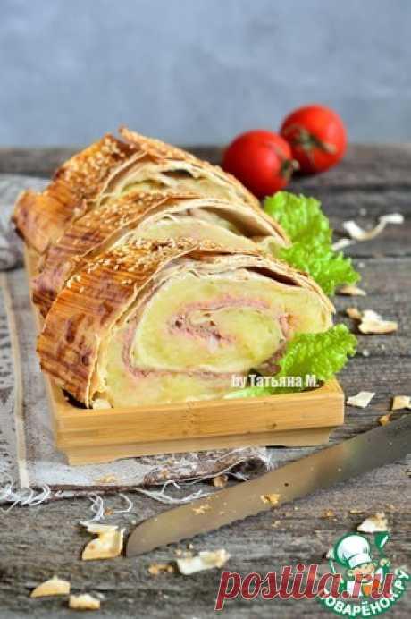 Большой и сытный картофельный рулет с куриным мясом в хрустящем лаваше! Полноценный обед или ужин, для взрослых и детей! Очень ароматно и вкусно!