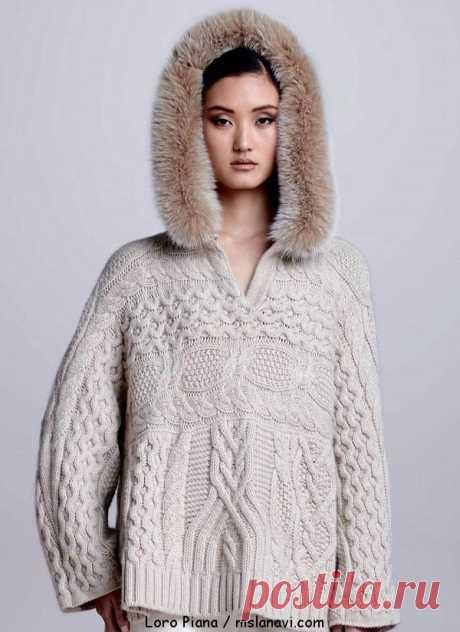 Красивый женский свитер спицами от Loro Piana | Вяжем с Лана Ви