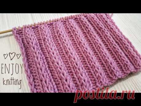 КЛАССНАЯ ПЫШНАЯ Резинка - Узор спицами на одном дыхании / Rib Knitting stitich pattern