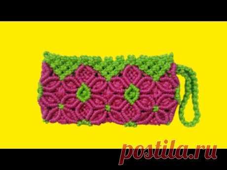 Сумочка-кошелек с цветами, макраме