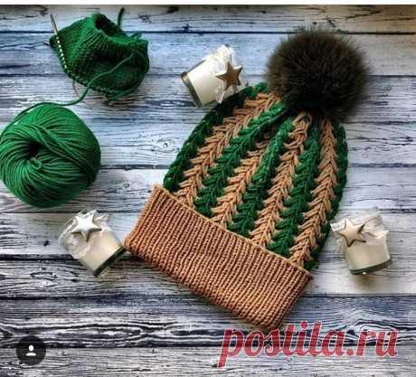 Модная нынче шапочка интересным узором