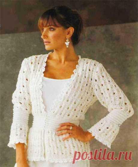 Белый жакет Статана фантазийным узором до 58 размера спицами – схема с описанием — Пошивчик одежды