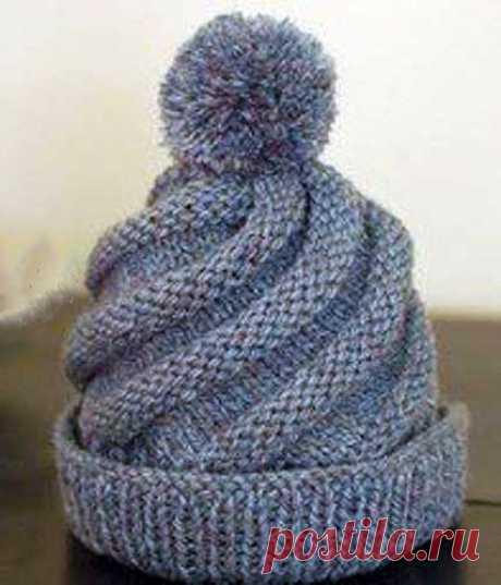 Вяжем шапку спираль спицами | ВЯЗАНИЕ ШАПОК: женские шапки спицами и крючком, мужские и детские шапки, вязаные сумки