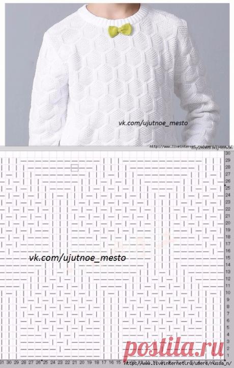 Пуловер для мальчика спицами (узор)